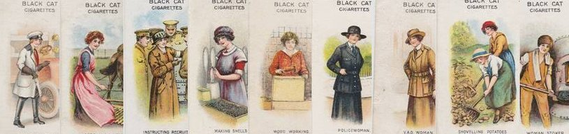 Cigarette cards depicting women's war work
